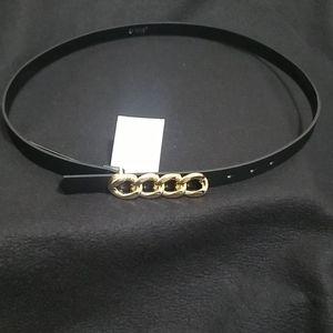Black Belt with Longer Gold Link Buckle